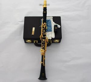 Professional Black Wooden Clarinet Gold Plated 19 Key 2 Barrels With Case