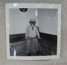Halloween Child in Costume Black & White Photo 1950s Original A
