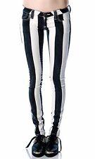 BLACK AND WHITE MY BFF JEGGING Frankie B dolls Kill Sz 29 Striped Jeans Goth