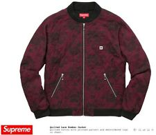 Supreme Quilted Lace Bomber Jacket XL Burgundy Black SS17 logo