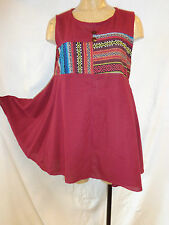 TUNIQUE COTON , TISSEE , BORDEAUX ,TU /  WEAVING TUNIC , COTTON , ONE SIZE
