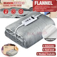 Electric Heated Blanket Warm Over Throw Fleece Digital Timer Faux Fur Grey US
