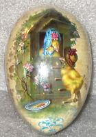 Vintage Paper Mache Easter Egg (4.5x3) EASTER BONNET CHICKS Sealed MINT Germany