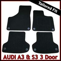 Audi A3 Mk2 3-Door 2003-2013 Fully Tailored Fitted Carpet Car Floor Mats BLACK