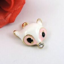 16PCS Vintage Alloy Enamel White Fox Jewelry Charms Pendant 39234