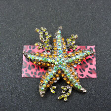 Starfish Animals Charm Brooch Pin Betsey Johnson Green Crystal Cute Coral