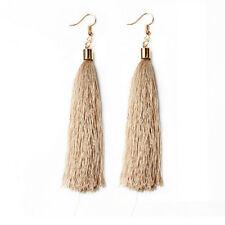 DIY 1 pair of fashion bohemian women's Beige long tassel hook earrings jewelry