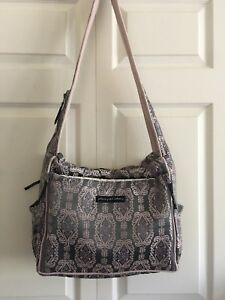 PETUNIA PICKLE BOTTOM DIAPER CROSSBODY BAG Pink /Gray SATIN embroidered Pattern
