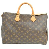 Louis Vuitton Speedy 35 M41524 Monogram Boston Satchel Handbag Bag Brown Gold