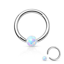 Simulated Opal Surgical Steel Circular Barbell Nose Septum Captive Bead Ring 16g