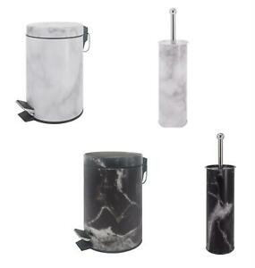 3 Litre Bathroom Pedal Dust soft Close Waste Bin  Toilet Brush Holder Set