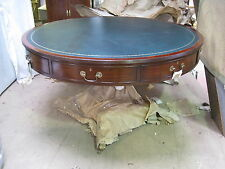 Antique Style Mahogany & Leather Round Large Drum Table by Anthony Fortescue