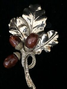 Vintage American CORO Brooch Large Silver tone Flower Brooch Amber glass