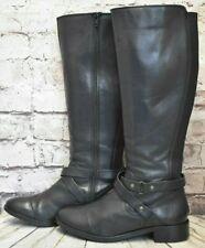 Womens Dorothy Perkins Black Leather Zip Up Low Heel Knee High Boots UK 6 EUR 39