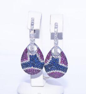 Exklusive Ohrringe Mit 5.95 Ct Diamanten,Rubinen&Saphiren Gold 750