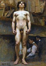 "1896 J.C. Leyendecker, American, Muscular Nude Male, ART, 20""x14"" Canvas"