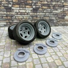 """1/24 Scale 3D Printed 20"""" Staggered Depth Patriot Wheels w/ Tires & Brakes"""