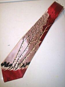 VTG 40s 50s Swing Tie Rockabilly Red, Silver - White Birch