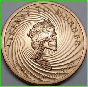 2019 2oz Democide Silver Shield Copper BU License To Murder- Slave Queen Series