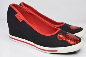 Disney Mickey Mouse Wedge Heels Black Canvas Shoes Sz 7 Red Sequin Mouse Ears