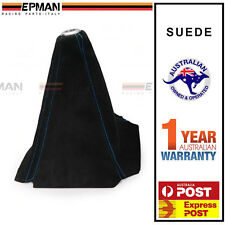 EPMAN Gear Boot Shifter Boot Cover Black Suede With BLUE Stitch Skyline WRX EVO