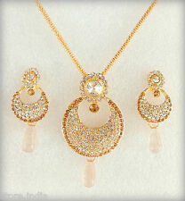 Ethnic Indian Bollywood Jewelry Gold Plated Chain Pendant Necklace Earrings Set