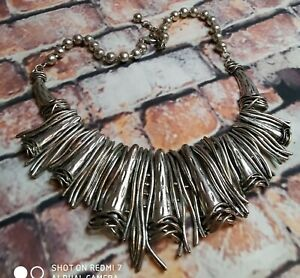 STATEMENT Brutalist Style Bib Necklace Silver Tone Chunky Industrial Balls