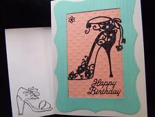 Handmade Happy Birthday Card Sparkly Shoes Embossed Using Stampin Up? Feminine