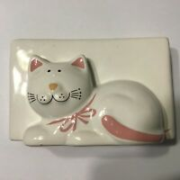 White Ceramic Cat Kitty 3D Desk Note Pad Pen Pencil Holder Organizer Office