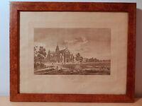 Gravur Französisch Antik XIX Kloster Der Broux Dorf IN Breysse Ain Frankreich