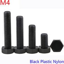 M4 x 0.7 4mm DIN 933 Black Plastic Nylon Hexagon Head Cap Set Screws / BOLT