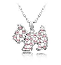 White Gold GP Made With SWAROVSKI Element Pink Crystal Puppy Dog Necklace