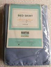 "Martha Stewart Twin Bed Skirt Blue Cotton Blend 39X75"" New in Package"
