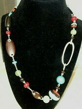 """Fossil Ethnic Multi Color Necklace Silver Tone Necklace 22"""" With 2"""" Extender"""