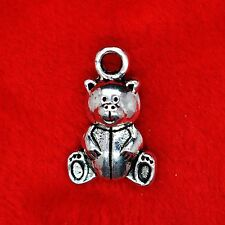 10 x tibetan silver cute teddy bear charm pendentif finding bead jewellery making