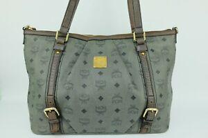 100% Authentic MCM Green Visetos Large Shopper Shoulder Bag