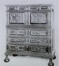17th c. English Jacobean Chest of Drawers, Magic Lantern Glass Photo Slide