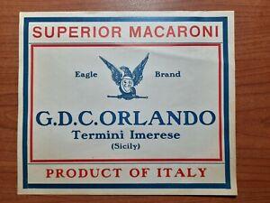 ETICHETTA SUPERIOR MACARONI EAGLE BRAND - G.D.C. ORLANDO TERMINI IMERESE 1900