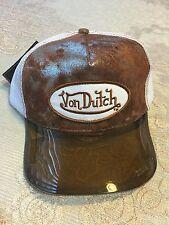 AuthenticNWT Von Dutch Adjustable White Trucker Hat Cap Brown UV Protector Visor