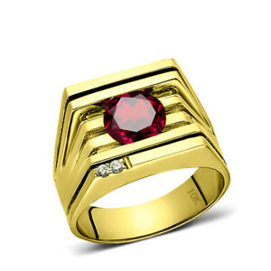 Mens Ring REAL Solid 10K YELLOW GOLD with Red Ruby and GENUINE DIAMONDS all sz