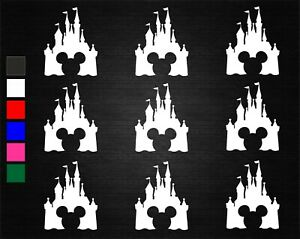 9 x MICKEY MOUSE DISNEY CASTLE WINE GLASS STICKERS PARTY DECORATION WALL WINDOW