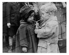 Vintage photo-Boy & girl sharing soda-2 straws-8x10 in