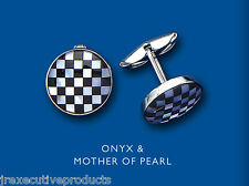 Silver Cufflinks Chequered Flag Cufflinks Onyx & Mother of Pearl Round Cufflnks