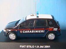 FIAT STILO 1.9 JTD 2001 CARABINIERI DEAGOSTINI 1/43 BERLINA 4 TURIG italia ITALY