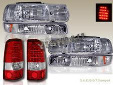 1999-2002 SILVERADO HEADLIGHTS & BUMPER LIGHTS CHROME & TAIL LIGHTS LED RED