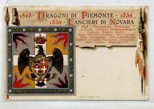 Dragoni di Piemonte Lancieri di Novara WWI PC viaggiata 1918 Italy Eagle