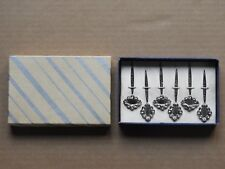 (SET OF 6) STERLING SILVER WITH RHODIUM FINISH HORS D'OUEVRES PICKS IN BOX