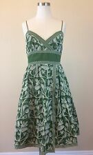 STUDIO M Women's Green Floral Embroidered Cotton Dress Size SMALL