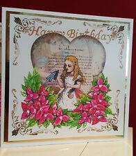Handmade Alice in Wonderland themed Birthday card