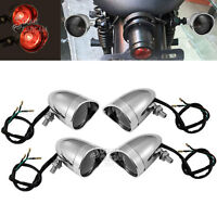 4x Chrome Amber Turn Signals For Harley Softail Sportster Dyna Fatboy Road King